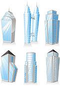 Skyscrapers Tower skyscraper apartment penthouse edifice structure set 1