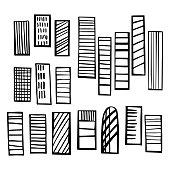 Hand drawn skyscrapers. Vector sketch  illustration.