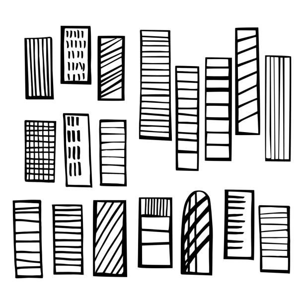 ilustraciones, imágenes clip art, dibujos animados e iconos de stock de rascacielos. ilustración de boceto vectorial. - conceptos y temas