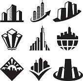 Skyscrapersblack & white royalty free vector icon set