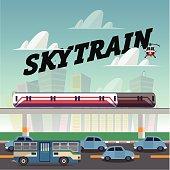 skytrain in the city.railcar. electric train. traffic jam