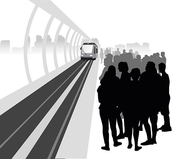 illustrazioni stock, clip art, cartoni animati e icone di tendenza di platfrom skytrain folla - subway