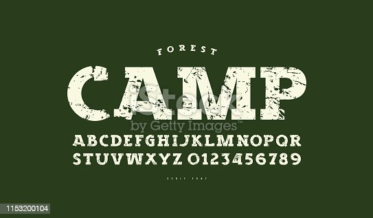 Slab serif font in classic style. Bold face. Letters and numbers with vintage texture for t-shirt and label design. White print on green background