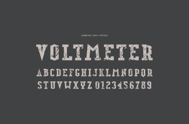 slab serif font in military style - skała stock illustrations