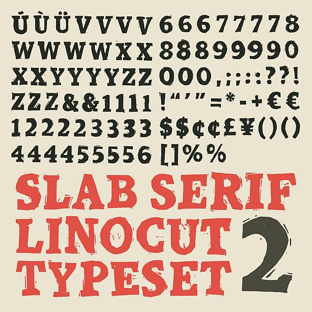 Slab serif linocut typeset Home made slab serif linocut typeset linocut stock illustrations