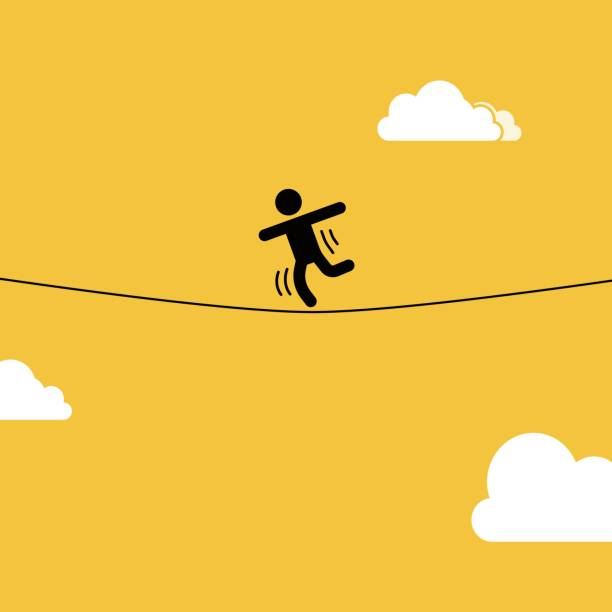 Slacklining vector art illustration