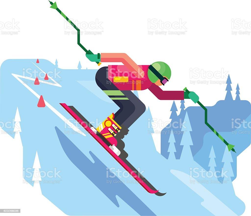 Slalom downhill skiing vector art illustration