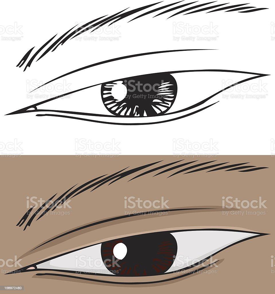 Slanted Eye Close Up royalty-free stock vector art