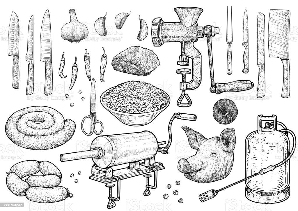 Slaughter ceremony tools illustration, drawing, engraving, ink, line art, vector vector art illustration