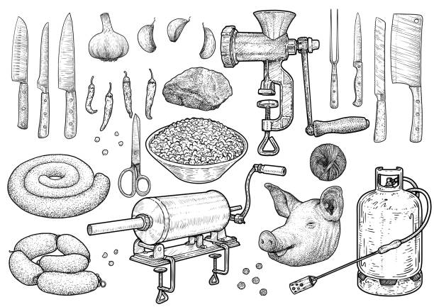 bildbanksillustrationer, clip art samt tecknat material och ikoner med slakt ceremoni verktyg illustration, teckning, gravyr, bläck, konturteckningar, vektor - korv