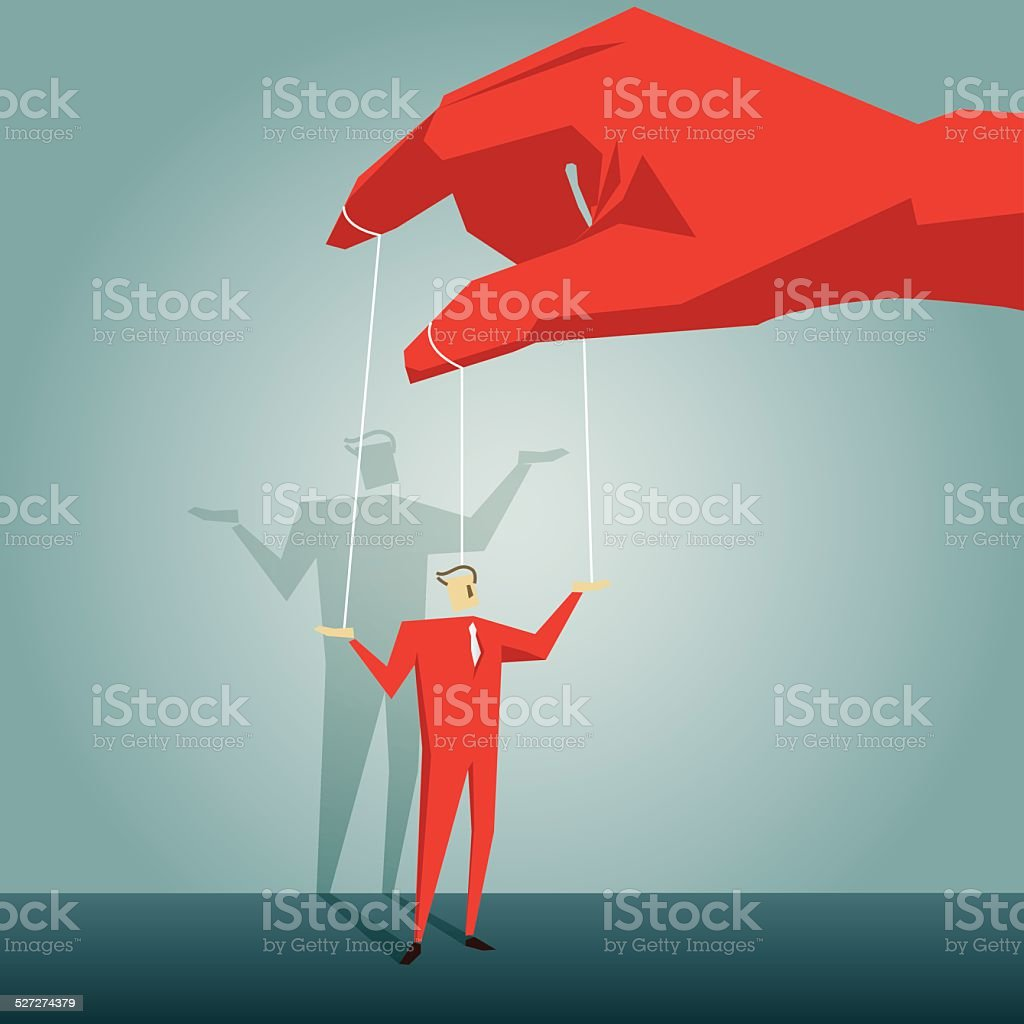 slavery,dictator,domination, obedience,boss, employee, puppet, manipulation, puppeteer vector art illustration