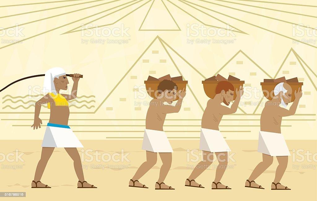 Escravos no Egito - ilustração de arte em vetor