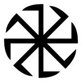 Slavic slavonis symbol Kolovrat sign sun icon black color illustration flat style simple image