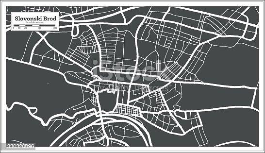 istock Slavonski Brod Croatia City Map in Black and White Color in Retro Style. 1330320896