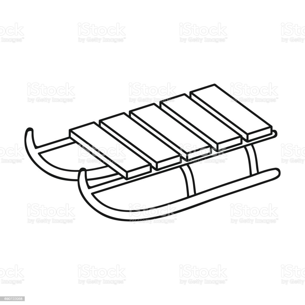 sled icon in outline style isolated on white background ski resort