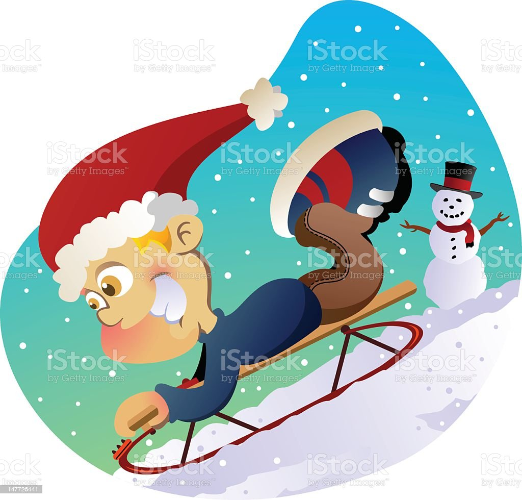 Sled Time royalty-free sled time stock vector art & more images of boys