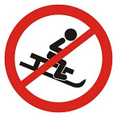 Sledding ban, black silhouette of sled with person at red circle frame, vector icon. Road sign on white background.