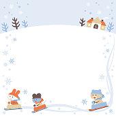 Sledding Bear, Rabbit and Mouse / Frame / 4 colors