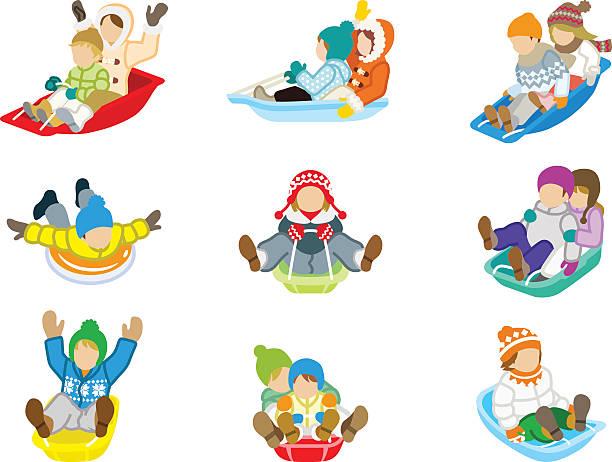 ilustrações de stock, clip art, desenhos animados e ícones de trenó puxado por crianças conjunto isolado - exhaust white background