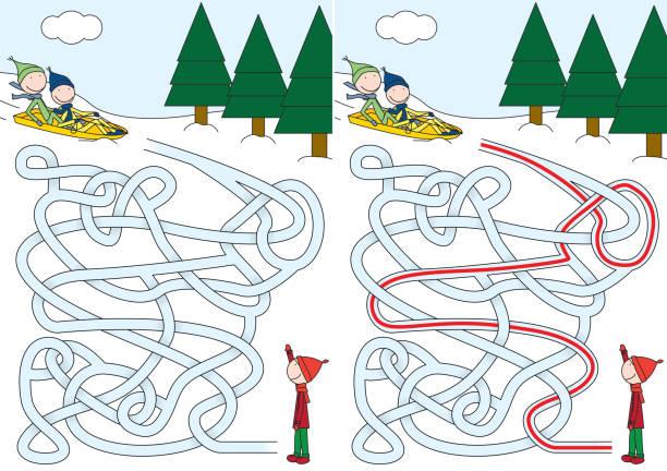 Labirinto de trenó - ilustração de arte em vetor