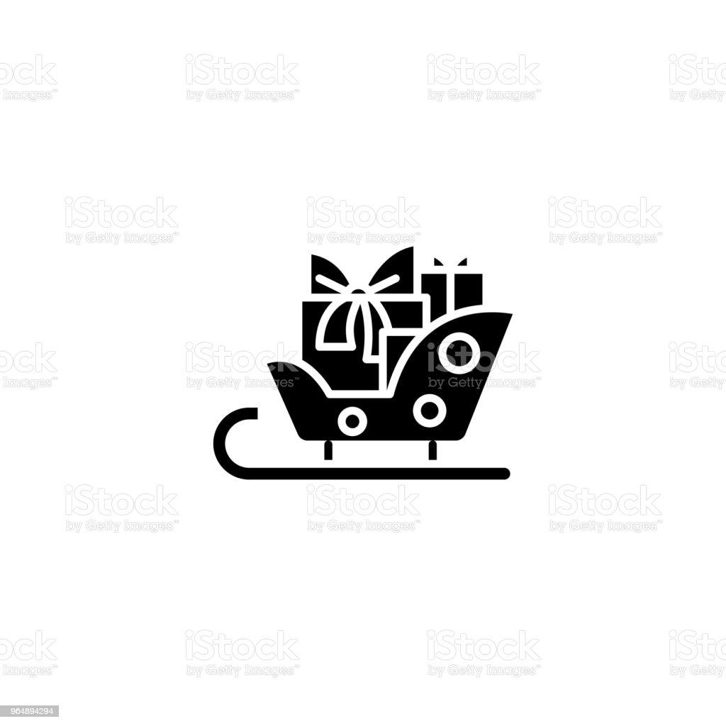雪橇與禮物黑色圖示的概念。雪橇與禮品平面向量符號, 符號, 插圖。 - 免版稅一組物體圖庫向量圖形