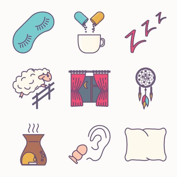 Icono de sueño y el insomnio - ilustración de arte vectorial