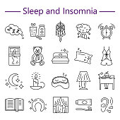 Sleep and Insomnia line icons set vector illustration. Collection of outline flat symbols of bedtime rest dreamcatcher awakening for infographics website print media brochures editable stroke