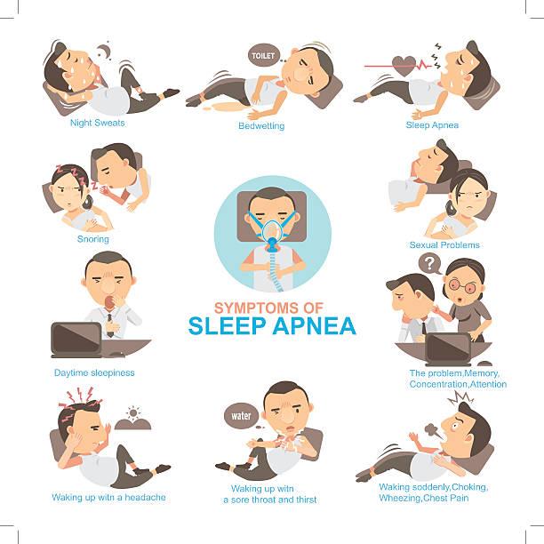Sleep Apnea Man Symptoms and signs sleeping apnea  The impact on married life and his work.Info Graphics vector illustrations chronic illness stock illustrations