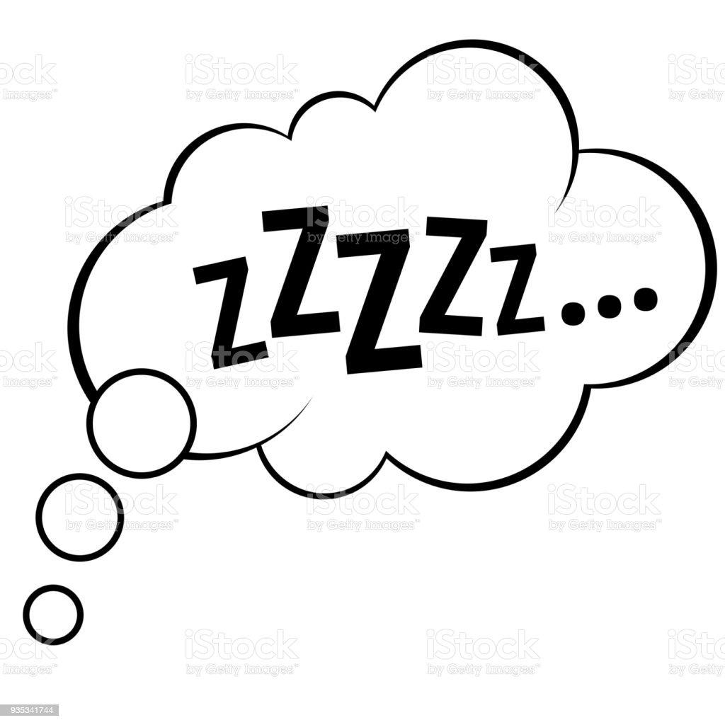 Sleep Comic Bubble Zzz Vector Illustration Stock ...