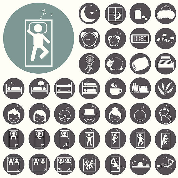 Schlaf Konzept icons set: Kissen Bett, Mond, Schafe, Eule, zzz. – Vektorgrafik