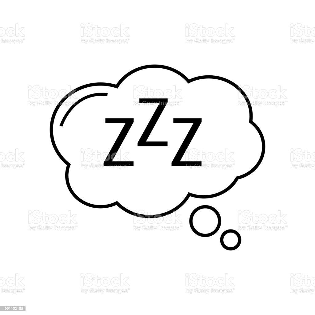 Sleep Icon Comic Bubble Zzz Vector Illustration Stock ...