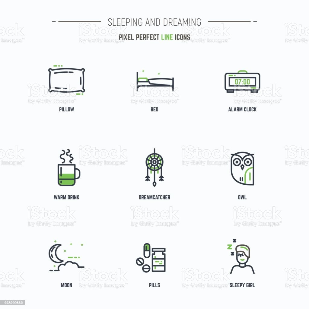 Sleep icon set vector art illustration