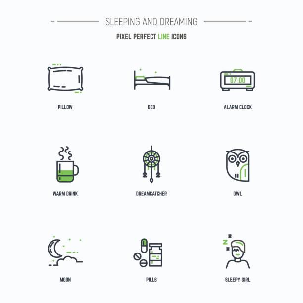 Sleep icon set vector art illustration