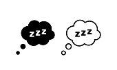 istock Sleep icon. Sleepy zzz black talk bubble icon. Sleep, dream, relax, rest, insomnia. Vector EPS 10. Isolated on white background. 1280310614