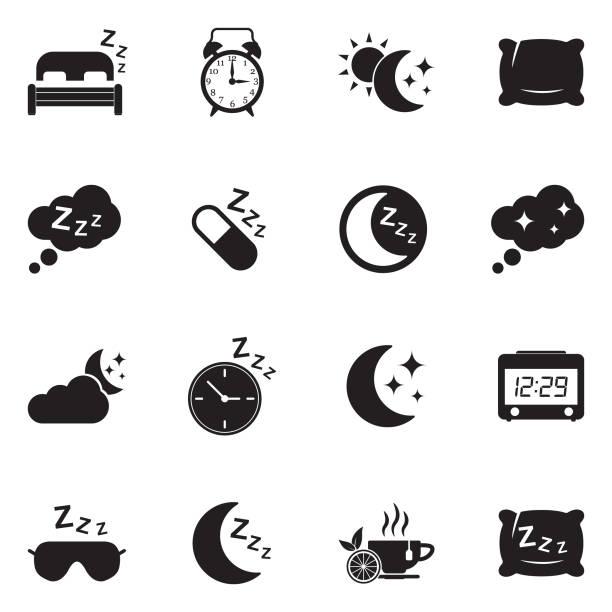 illustrazioni stock, clip art, cartoni animati e icone di tendenza di sleep icons. black flat design. vector illustration. - mattina