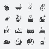 sleep icons set.