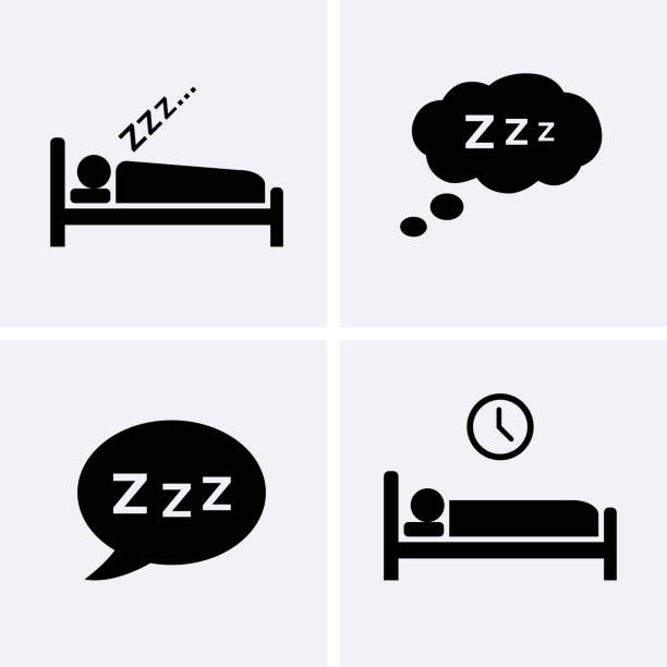 sleep icons set vector. - bed stock illustrations