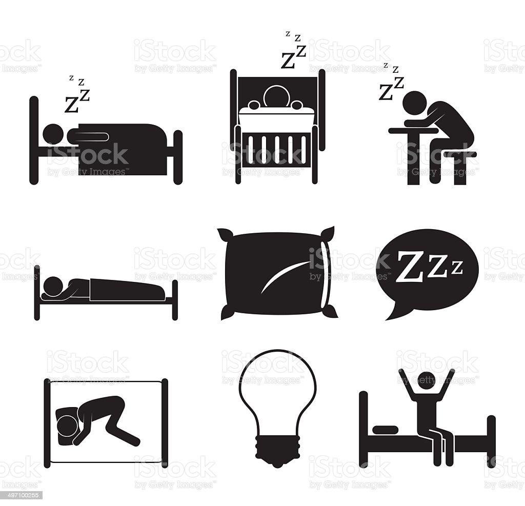 sleep icons vector art illustration