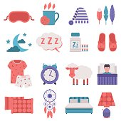 Sleep icons vector set.