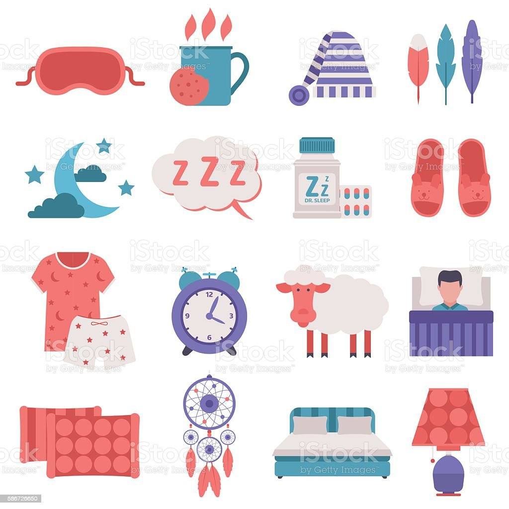 Sleep icons vector set. vector art illustration