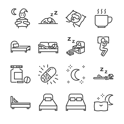 Sleep line icon set. Included the icons as insomnia, sleepless, bed, bedtime, sleepwalk, night, sleeping pill and more.