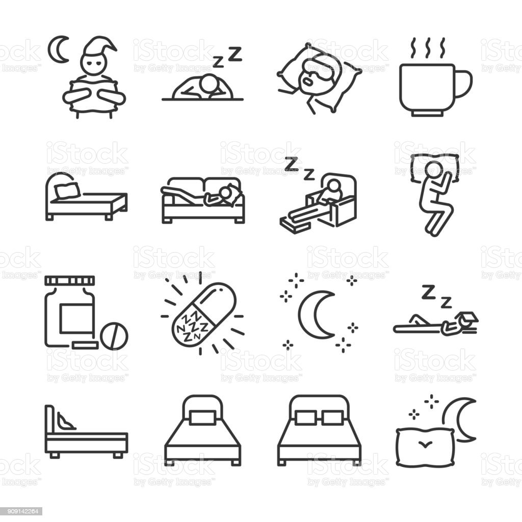 Sleep line icon set. Included the icons as insomnia, sleepless, bed, bedtime, sleepwalk, night, sleeping pill and more. vector art illustration
