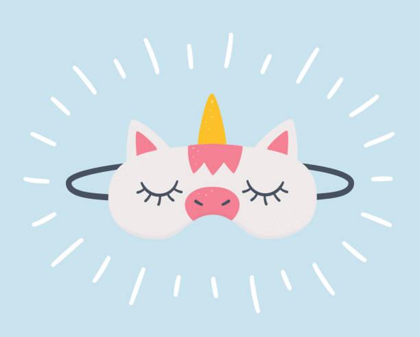 ilustrações de stock, clip art, desenhos animados e ícones de sleep mask in the shape of a unicorn. - unicorn bed