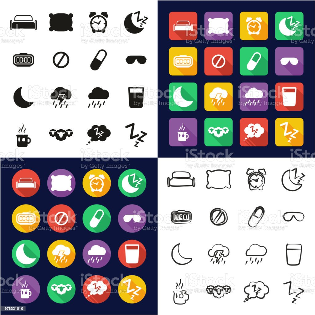 Sleep Or Sleeping Icons All in One Icons Black & White Color Flat Design Freehand Set vector art illustration