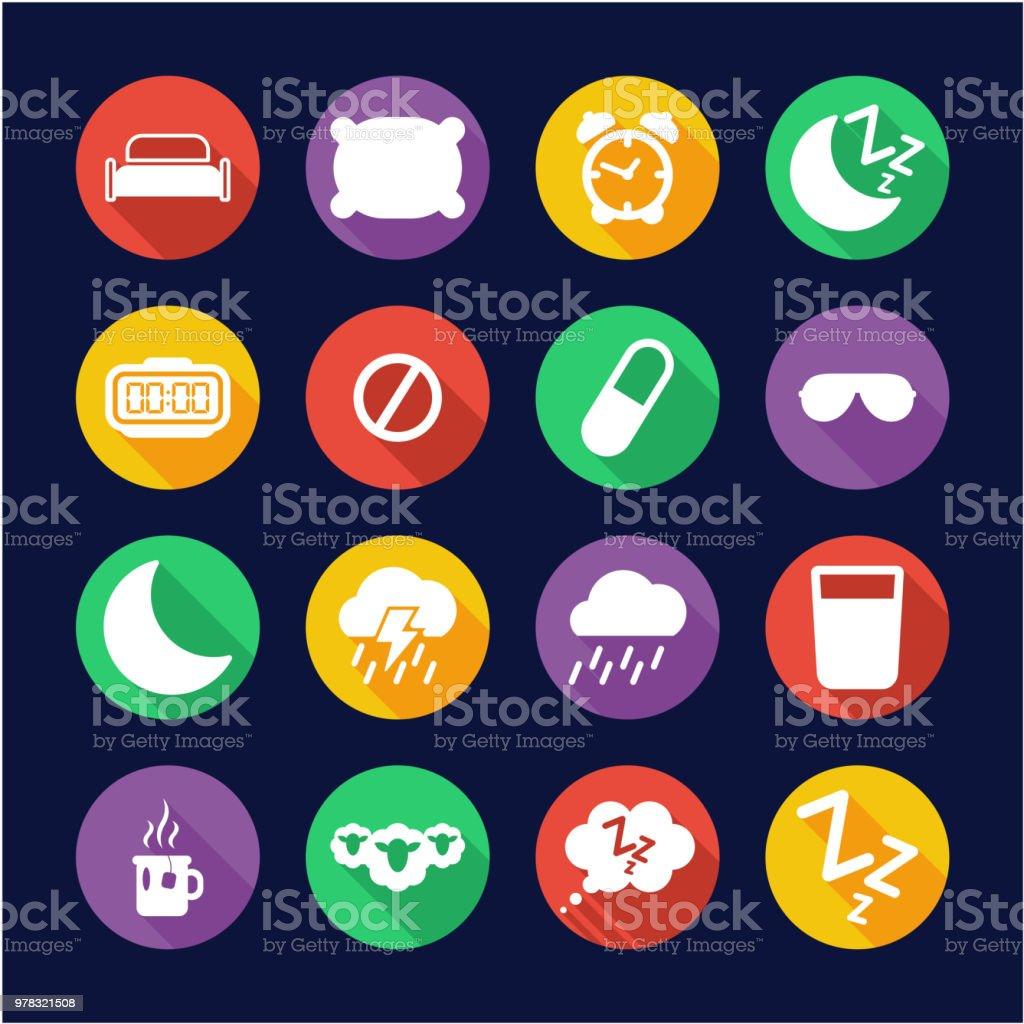 Sleep Or Sleeping Icons Flat Design Circle vector art illustration