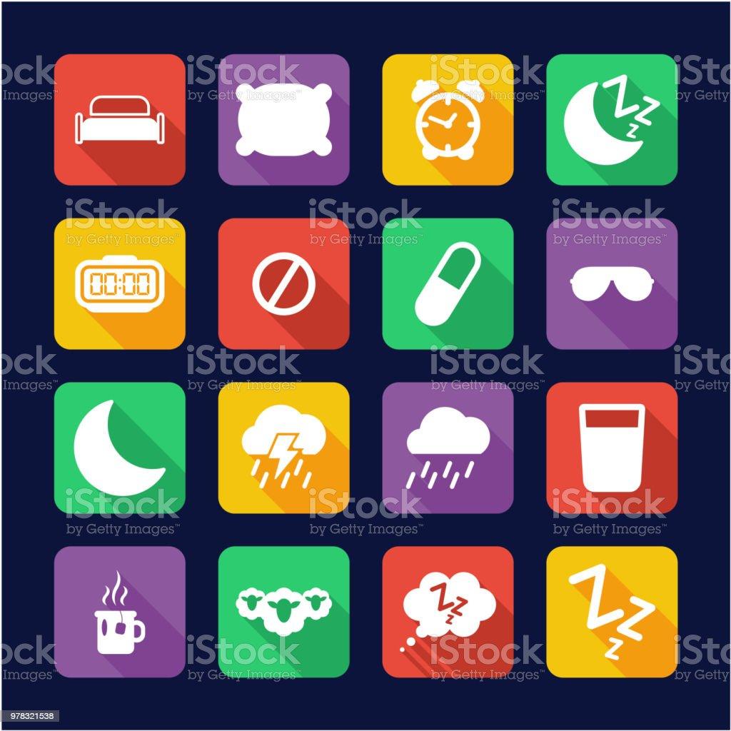 Sleep Or Sleeping Icons Flat Design vector art illustration