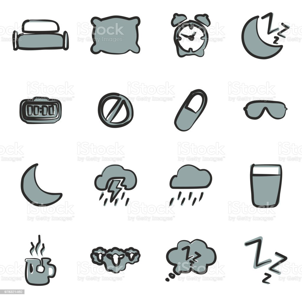 Sleep Or Sleeping Icons Freehand 2 Color vector art illustration