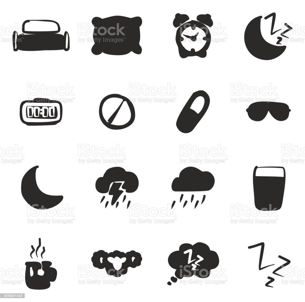 Sleep Or Sleeping Icons Freehand Fill vector art illustration