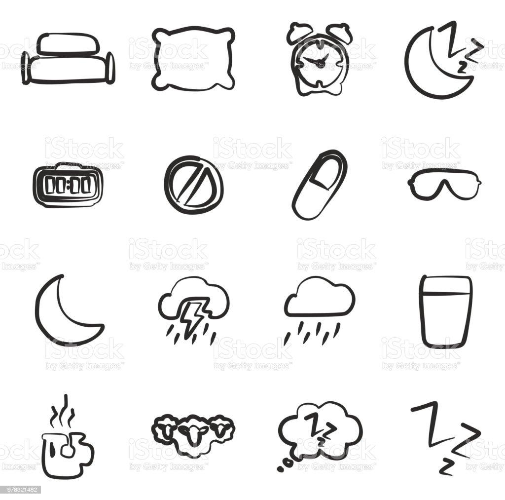 Sleep Or Sleeping Icons Freehand vector art illustration