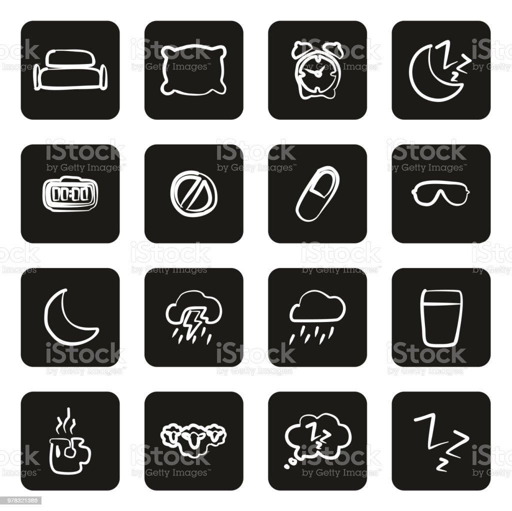 Sleep Or Sleeping Icons Freehand White On Black vector art illustration